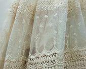 dentelle Ivoire, tissu de dentelle de tulle brodé, dentelle vintage, antique lace nuptiale, tissus pour rideaux, décors de maison
