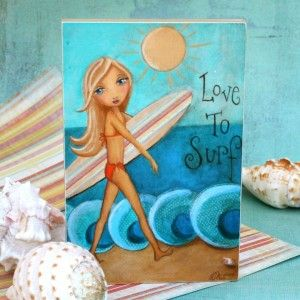 could have someone paint this with daughters hair color and eyes... surfer themed bedroom - Google Search