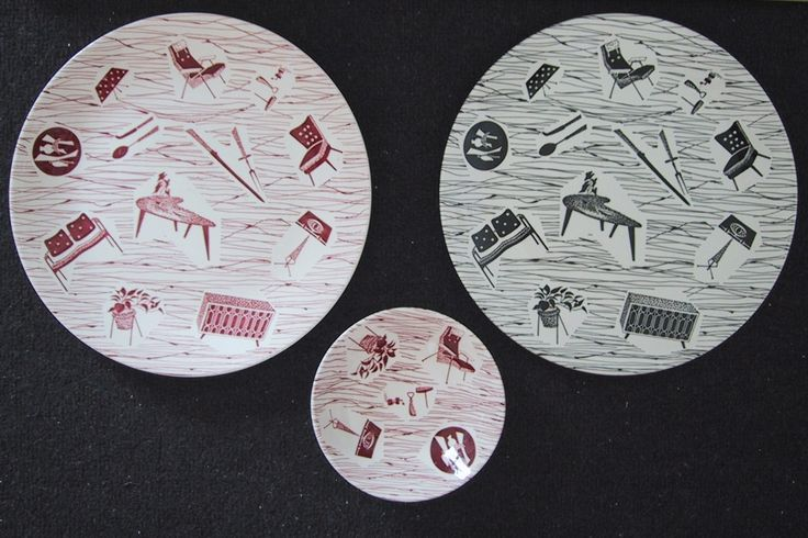 Ridgway Homemaker, including rare red plate and pickle dish