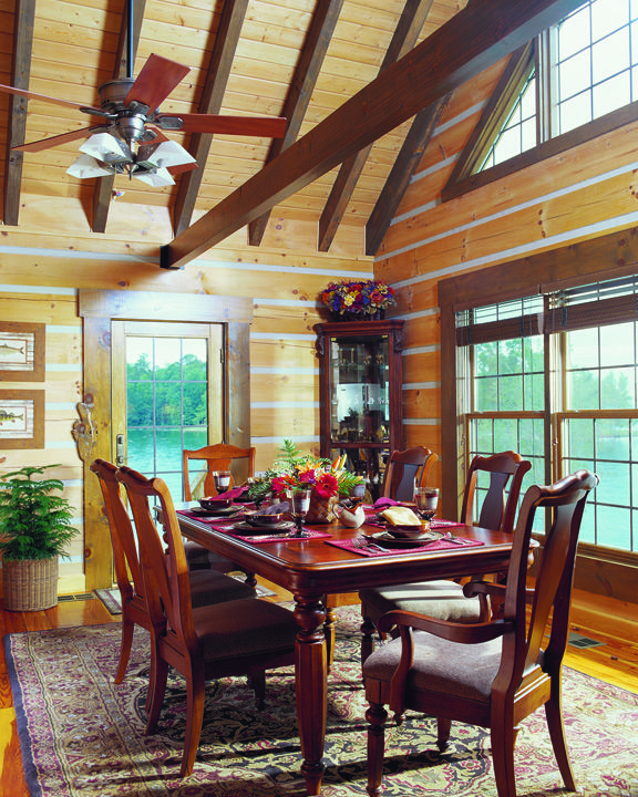7 best delightful log home dining rooms images on for Log cabin builders in alabama