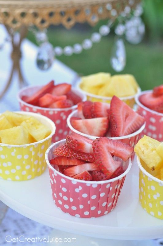 Fresh fruit in coordinating cups - Easy and Cute presentation for summer entertaining