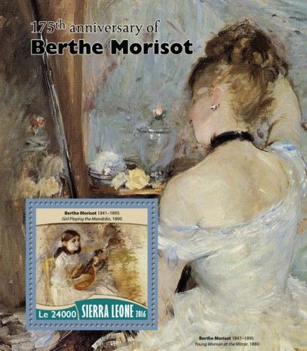 "SRL16717b 175th anniversary of Berthe Morisot (Berthe Morisot (1841–1895) ""Girl Playing the Mandolin"", 1890)"