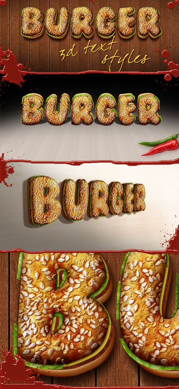 3D Burger Photoshop Layer Styles
