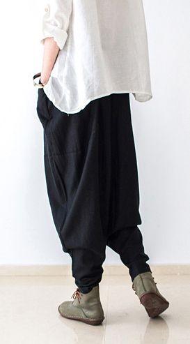 Black stylish linen pants oversized cotton pants New 2016