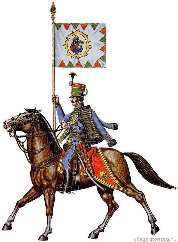 A teljes méretű képhez kattints ide 1848-1849 A 10. huszárezred zászlótartó huszár őrmestere.