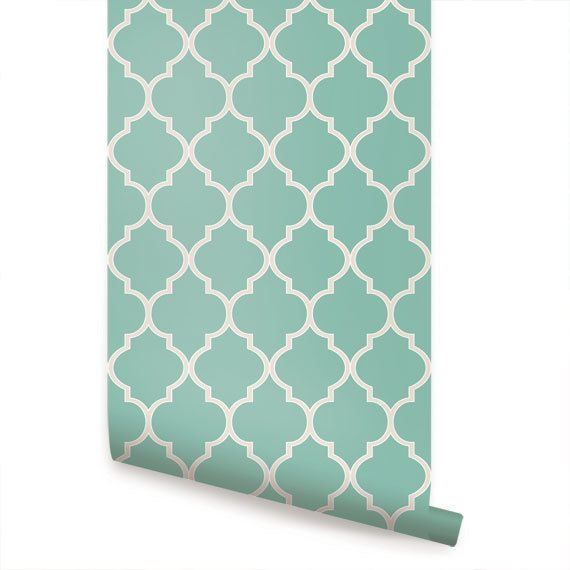 Moroccan Mint Peel & Stick Fabric Wallpaper by AccentuWall on Etsy, $35.00