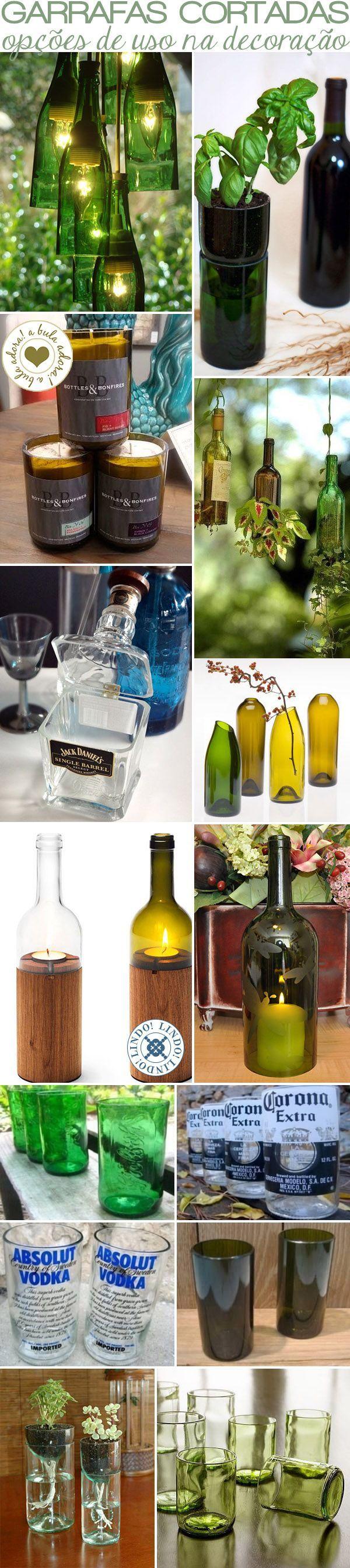 decoração sustentável: uso de garrafas cortadas para fazer copos, reutilizá-las penduradas iluminando e acrescentando beleza aos ambientes das mais variadas maneiras... Use a criatividade e reutilize... recicle...transforme.... Podemos ajudar a tornar nosso mundo melhor... sempre!