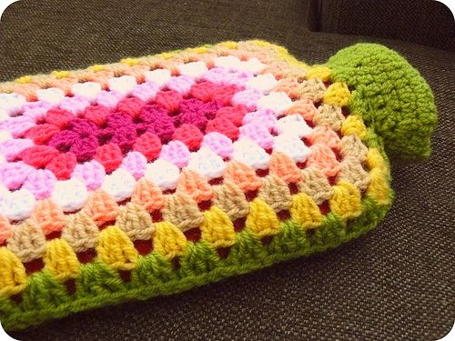 Granny crochet hot-water-bottle cover