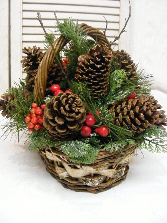 Pine cone basket holiday decor christmas pinterest for Christmas decorations using pine cones