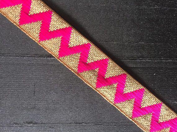 Blue Cross Stitch Style Indian Saree Border Jacquard Trim in A Geometric Pattern 3 Yards by Craftbot