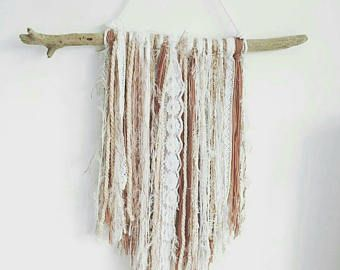 Mermaid boho style wall hanging in cream/nude. Shells, seashells, sequins, lace, cotton & drift wood. Nature inspired. Home wall art.