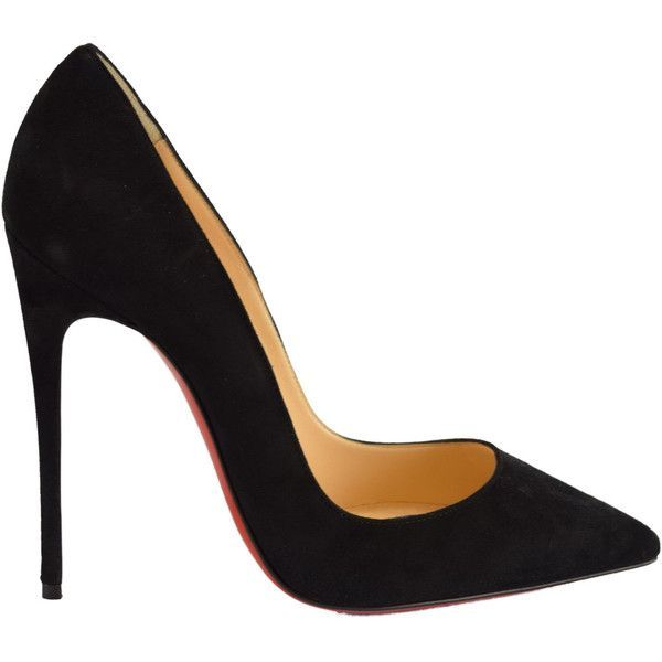 Christian Louboutin Women's So Kate Pumps (£365) ❤ liked on Polyvore featuring shoes, pumps, heels, sapatos, black, black pointed-toe pumps, sexy black pumps, pointed-toe pumps, suede pumps and black stilettos