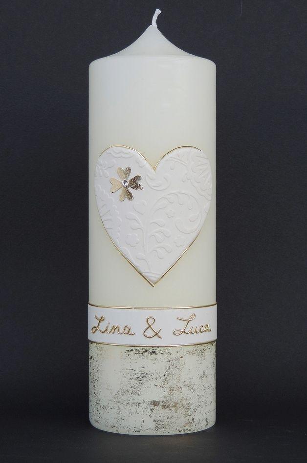 """Hochzeitskerzen & Beleuchtung - Hochzeitskerze """" Herz Reliev"""" - ein Designerstück von claudia-slanzi bei DaWanda"""