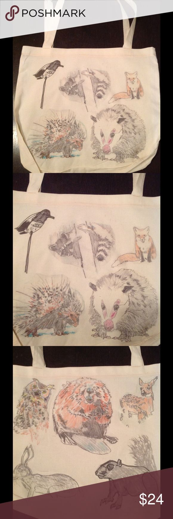Spotted while shopping on Poshmark: New! Double sided woodland critters tote🐭🍂🌰🍄🐇! #poshmark #fashion #shopping #style #American Apparel #Handbags