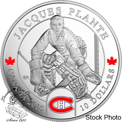 Coin Gallery London Store - Canada: 2015 $10 Goalies: Jacques Plante Montreal Canadiens NHL Silver Coin, $74.95