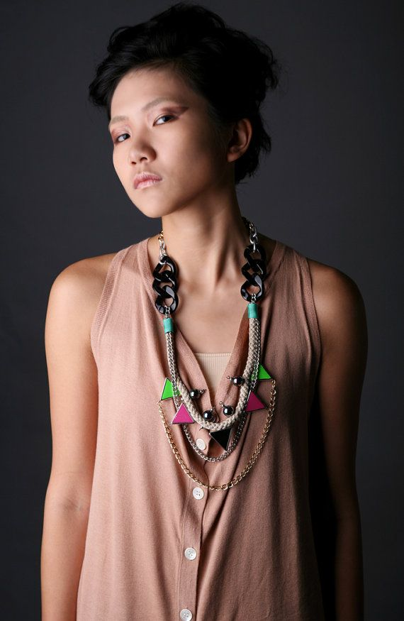 Walukar neon tribal necklace with rope triangles by nutcasefashion, $40.00