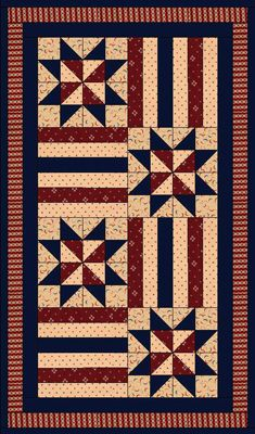 Patriotic Quilt Patterns For Free : free pattern - Patriotic Tablerunner from this-n-that fabrics quilting Pinterest Runners ...