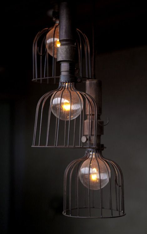 industrial caged lighting