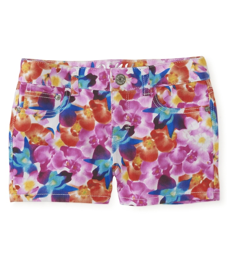 Kids' Printed Orchid Denim Shorty Shorts - PS From Aeropostale