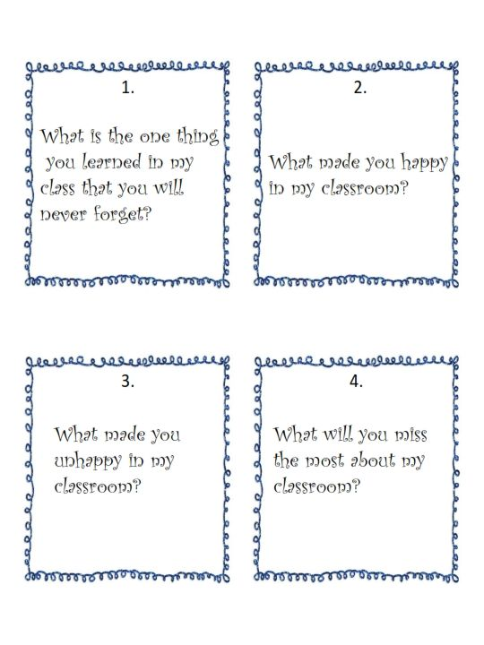 This packet includes 20 task cards and 3 printables with questions regarding your students' experiences in your classroom this past year.