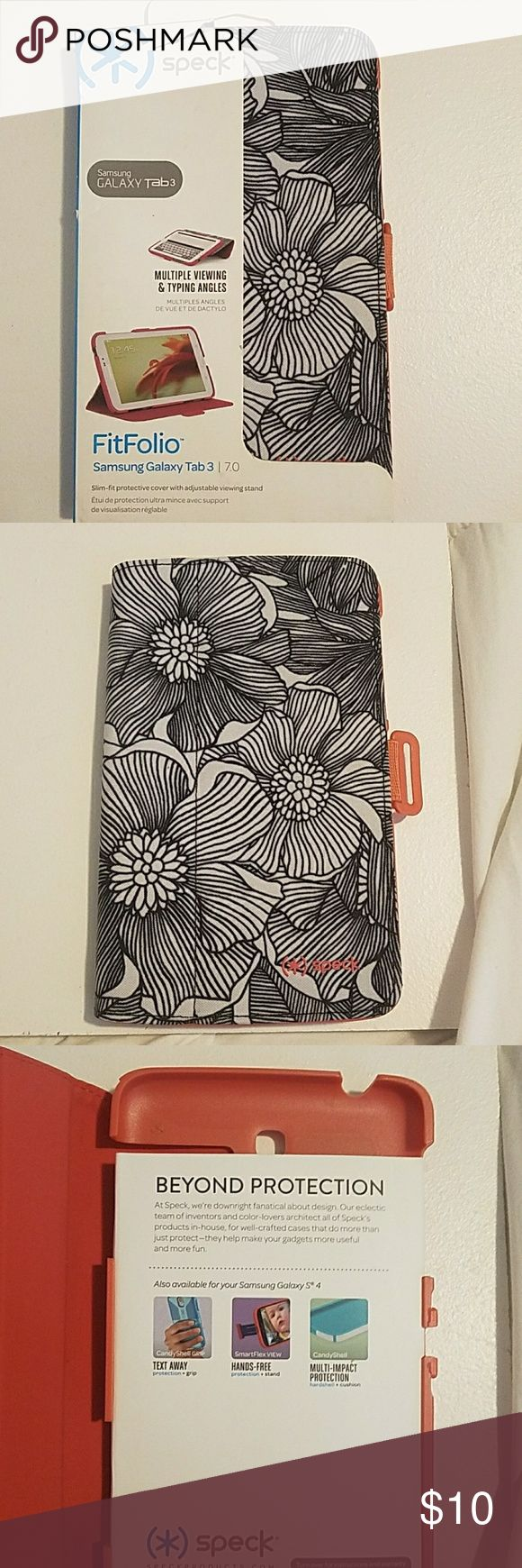 Speck FitFolio for Samsung Galaxy Tab 3 New, flowered black and white front salmon inyerior speck Other