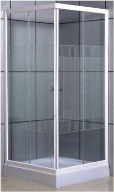 Vital szögletes zuhanykabin / függőleges csíkos üveggel