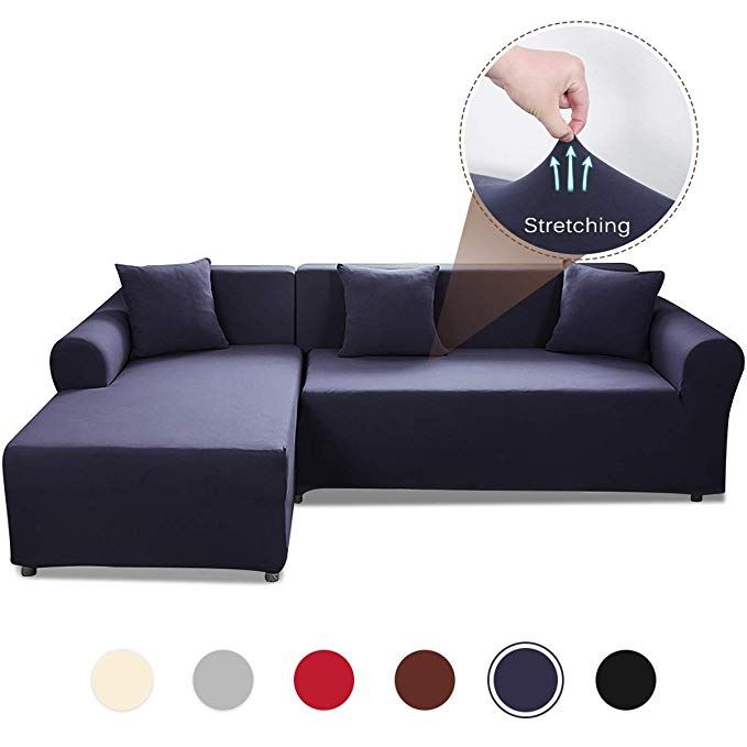 Sand Sofa Slipcover Safetyon Elastic Sofa Cover Sets L Shape Stretch Furniture Cover Pet Dog Sectional Corn Slipcovered Sofa Sectional Couch Cover Couch Covers