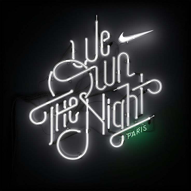 Nike - We Own The Night by Shane Griffin  #neon #lights #blackandwhite  black and white text. white on black text. neon lights.