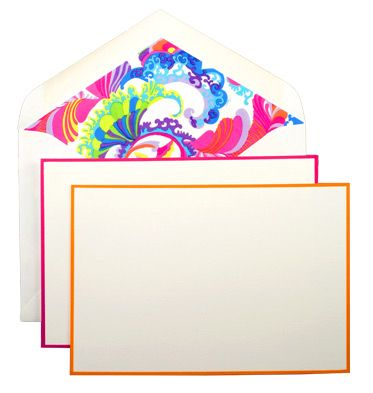 Trina Turk: Coachella for Dempsey & Carroll - The Coachella Correspondence Card includes orange and pink hand-bordered note cards that accent the fluorescent hues of a spontaneous paisley print on the envelope liners.