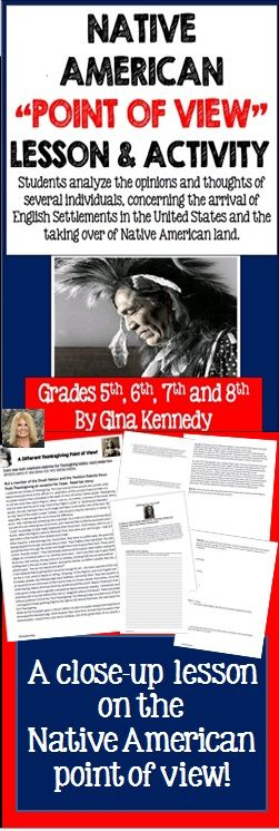 """No-prep, Native American """"point of view"""" reading lesson! After reading passages, and actual letters and statements from Native Americans, students use critical reading skills to show their understanding of the points of view of many Native Americans and others today.  A difficult part of American history is the loss of Native American land to the English settlers.  $"""