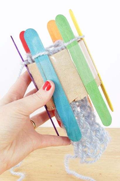 RainbowLoom - a knitting loom made from cardboard tubes and popsicle sticks - genius!