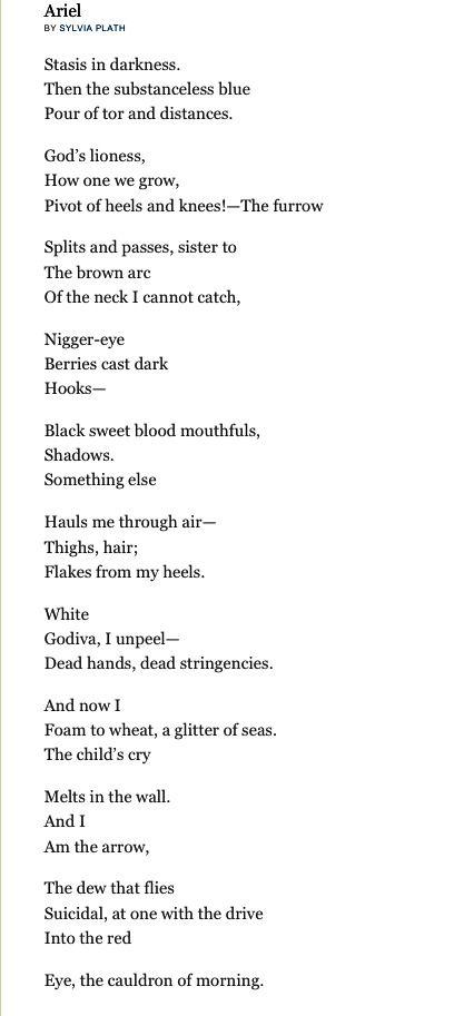 ARIEL, Sylvia Plath - the finest feminist poet.