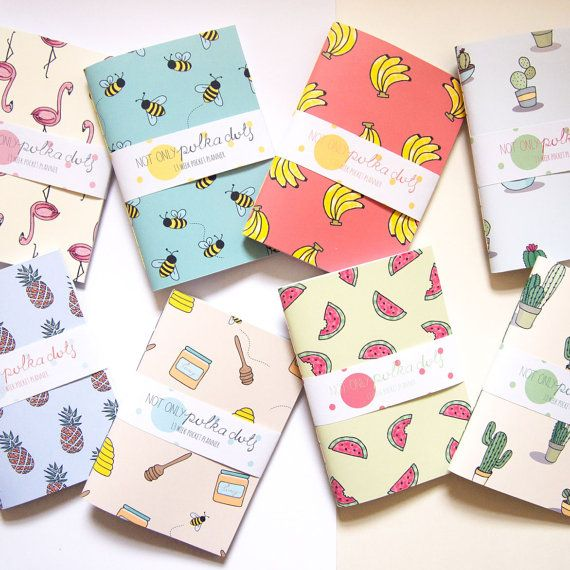 Undated Mini Pocket Planner / Cute Stationery by NotOnlyPolkaDots