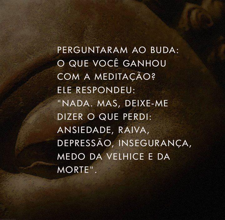 """Perguntaram ao Buda: O que você ganhou com a meditação? Ele respondeu: """"Nada. Mas, deixe-me dizer o que perdi: ansiedade, raiva, depressão, insegurança, medo da velhice e da morte."""""""