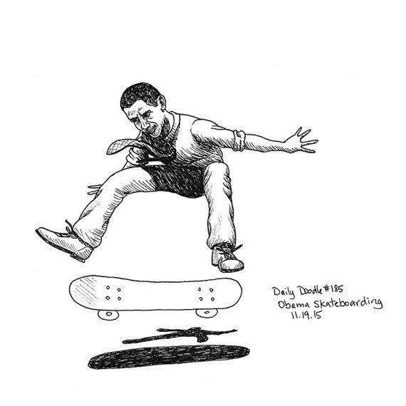 Barak Obama riding a skateboard, performing a skateboard trick. The perfect gift for that political friend with a strange sense of humor.