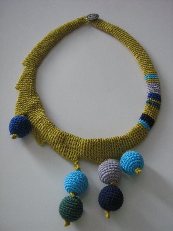 Crochet necklace by Suzann61 on Etsy, $30.00
