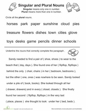 Singular and plural nouns singular and plural and worksheets on