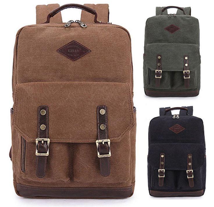 Men's Vintage Canvas Leather Hiking Travel Military Backpack Satchel School Bag #Unbranded #Backpack