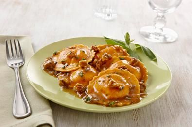 """I finally found the BEST BUTTERNUT SQUASH RAVIOLI recipe.  It is as good as, or better than, any of the fine dining restaurants I have eaten this at.  I couldn't find this brand of Ravioli in our grocery stores.  I used """"Perfect Pasta"""" brand, all natural and no preservatives.  It only takes 8 minutes to make, you'll love it."""