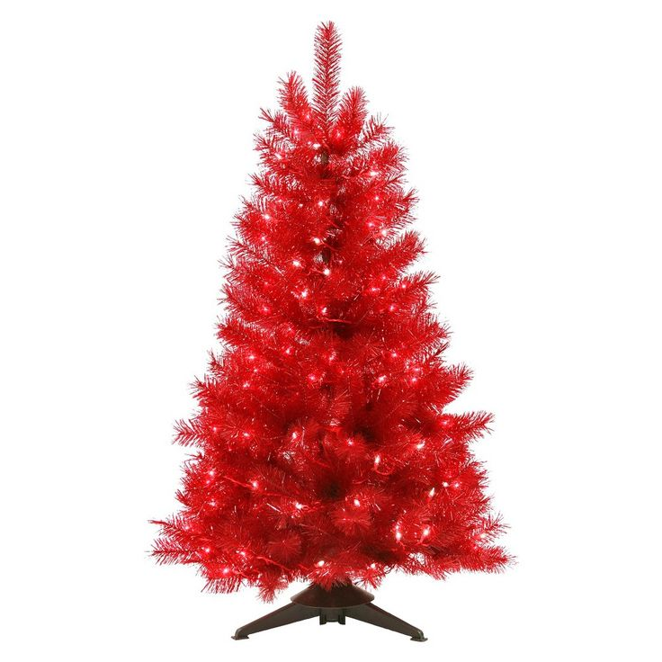 4ft Pre-Lit Artificial Christmas Tree Translucent Ruby Red - Clear Lights