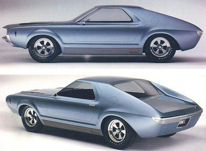 The original AMC AMX concept car was unveiled in 1965 and predicted the AMC Javelin-based two-seat AMX introduced for 1968.