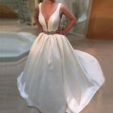 Branco Sem Alças de Cetim vestido De Noiva 2017 Simples Vestido Com Beading cinto Sexy Profundo Decote Em V Elegante Do Casamento Vestidos Vestido De Noivas alishoppbrasil