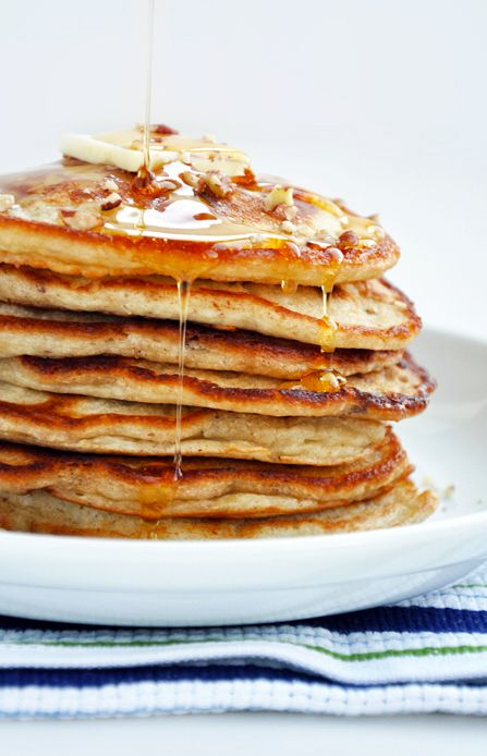 Banana Nut Pancakes YES (finally found a recipe that uses mashed bananas in the batter and not just banana slices!) I shall use walnuts instead of pecans though :)