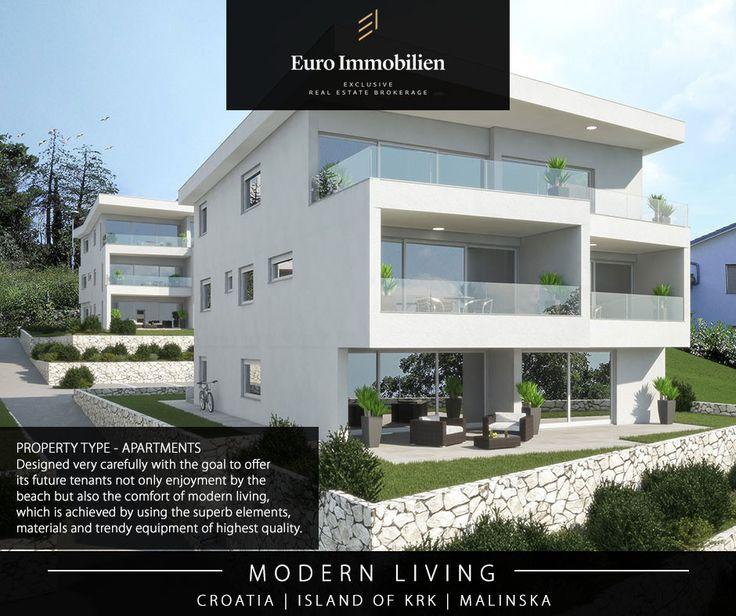 An der angesehenen Lage, direkt am Meer, nur einige Minuten von Zentrum Malinska / Insel Krk in Kroatien befinden sich vier moderne Appartementvillen mit insgesamt achtzehn luxuriösen Wohnungen