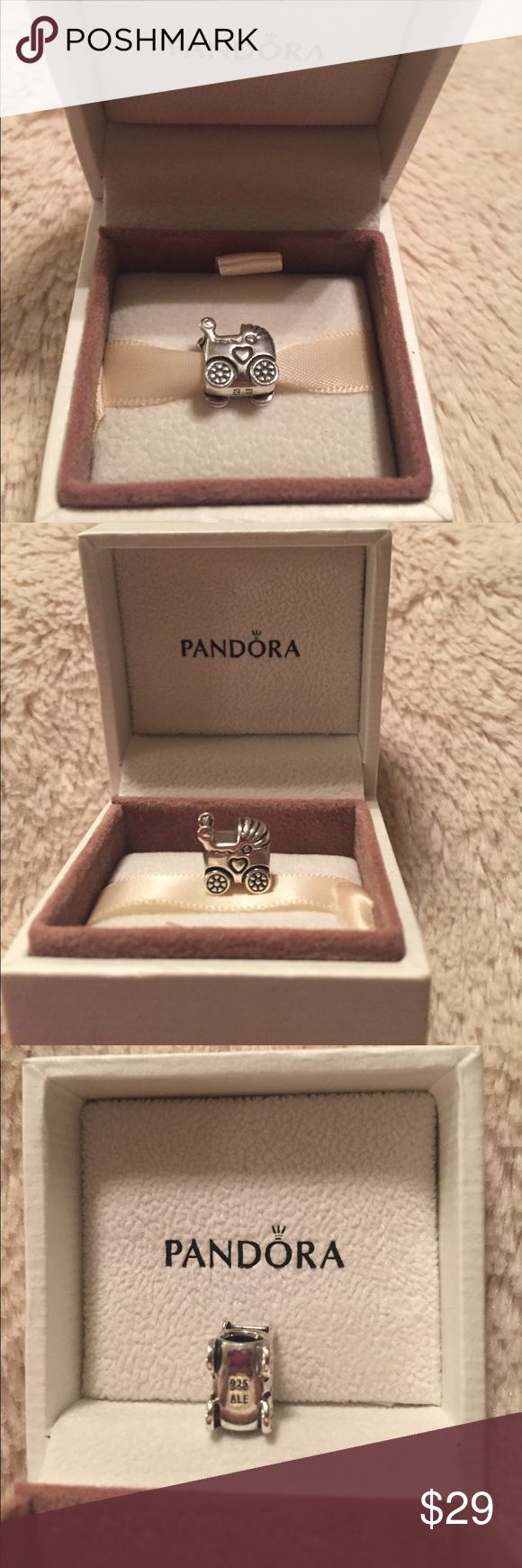 Pandora Baby Carriage Charm Pandora sterling silver baby carriage charm (790346) in excellent condition.  Purchased new from the Pandora store and was rarely worn.  Will come in original Pandora box. Pandora Jewelry
