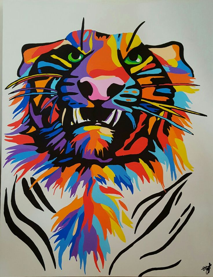 Hey guys sorry I haven't been posting in a while, I painted a colourful tiger using poscas. This painting is very big one of my biggest actually. I'm really proud on how it turned out. By Bonnie Leggett.