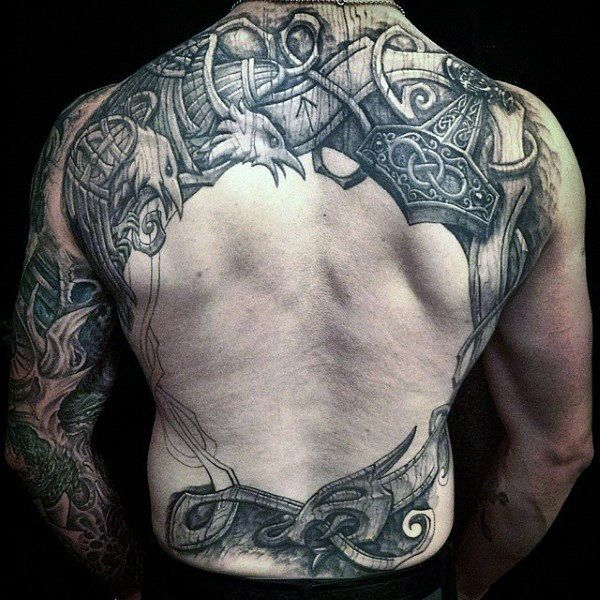 mans back nordic themed eagles tattoo next tat pinterest tattoo. Black Bedroom Furniture Sets. Home Design Ideas