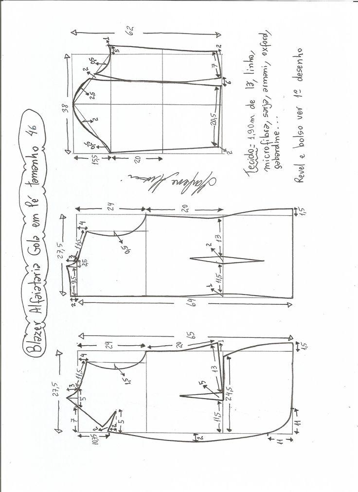 Esquema de modelagem de blazer alfaiataria com gola em pé tamanho 46.                                                                                                                                                                                 Mais
