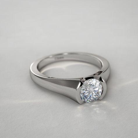 Anillo de Diamante Redondo de 1/4qt. Moderno sobre Base de Medio Bisel en Oro Blanco de 14k
