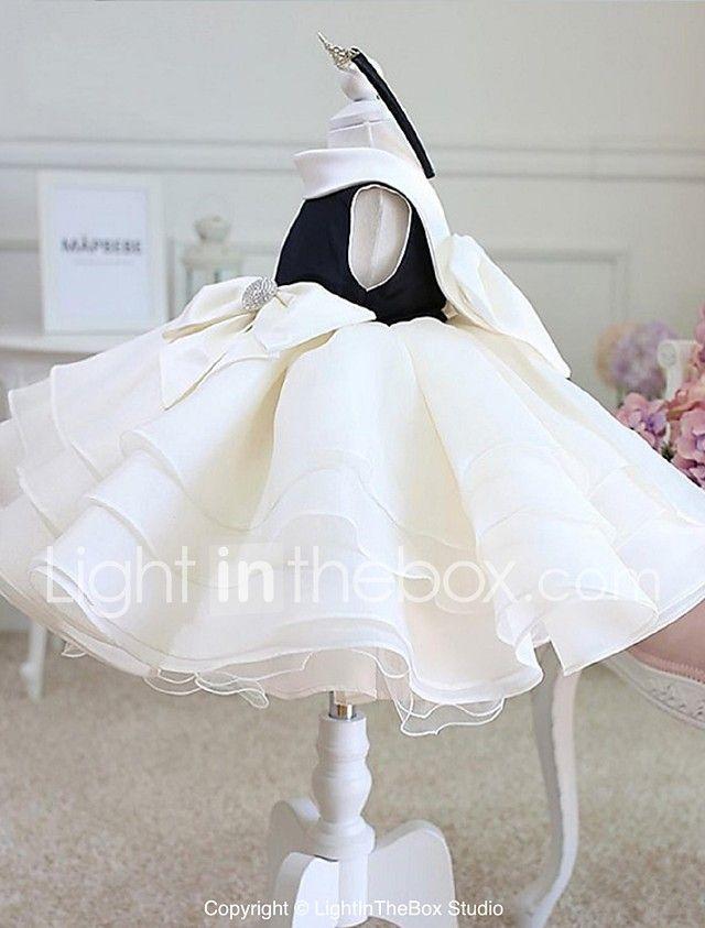 vestido de bola corto / mini vestido de la muchacha de flor - organza cuello de la joya sin mangas con el arco (s) cristal que detalla ruching de ydn 2018 - $2486.03